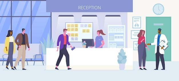 Ilustracja wektorowa płaski recepcji szpitala. para stoi w kolejce, uśmiechnięci pacjenci czekają na wizytę u lekarza w postaci z kreskówek w hali kliniki. koncepcja medycyny i opieki zdrowotnej
