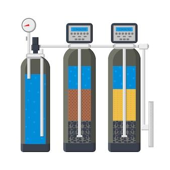 Ilustracja wektorowa płaski system filtracji wody
