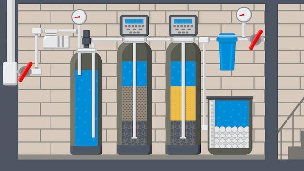 Ilustracja wektorowa płaski system oczyszczania wody