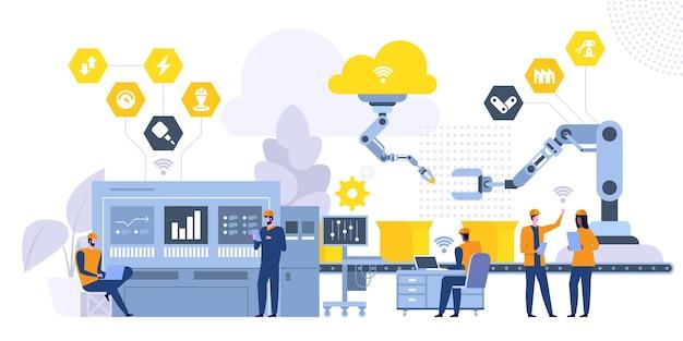Ilustracja wektorowa płaski system produkcji. pracownicy fabryki, inżynier pracujący z komputerowymi postaciami z kreskówek. sterowanie liniami montażowymi, zaawansowane technologicznie maszyny. koncepcja rewolucji przemysłowej