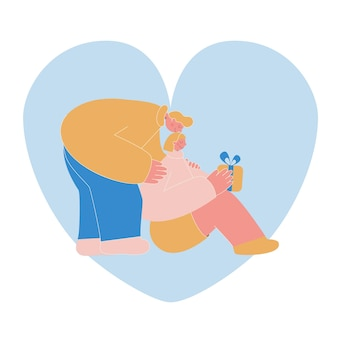 Ilustracja wektorowa płaski. urocza para. chłopiec daje dziewczynie prezent.