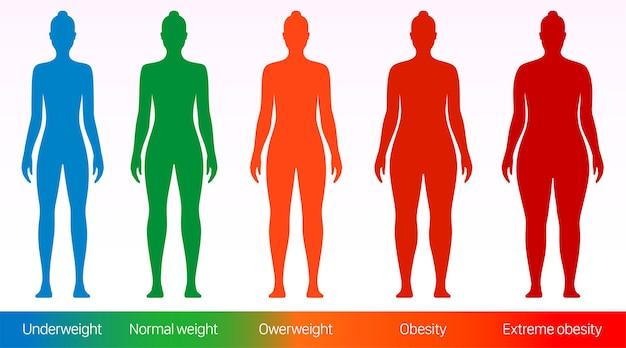 Ilustracja wektorowa płaski wskaźnik masy ciała kobiet