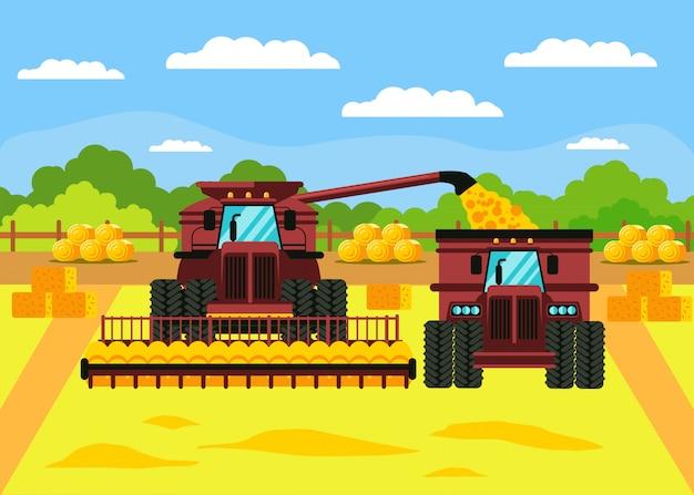 Ilustracja wektorowa płaski zbiorów ziarna zbóż