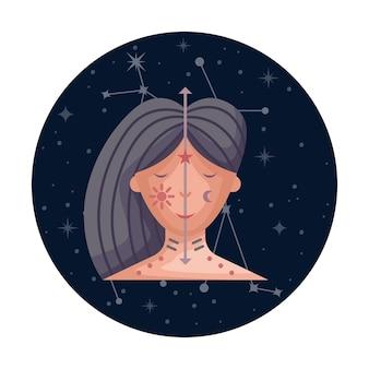 Ilustracja wektorowa płaski znak zodiaku bliźnięta z gwiazdami i konstelacji