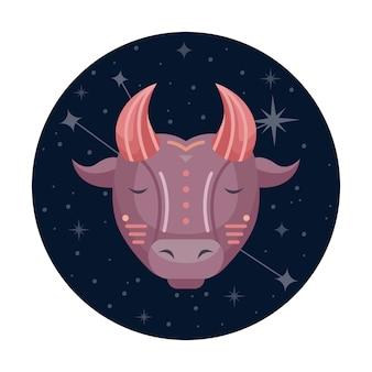 Ilustracja wektorowa płaski znak zodiaku byk z gwiazdami i konstelacji