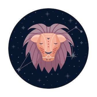 Ilustracja wektorowa płaski znak zodiaku lew z gwiazdami i konstelacji