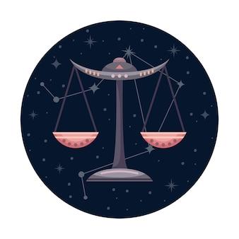 Ilustracja wektorowa płaski znak zodiaku libra z gwiazdami i konstelacji