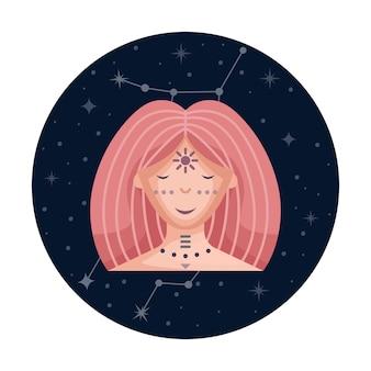Ilustracja wektorowa płaski znak zodiaku panna z gwiazdami i konstelacji