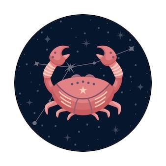 Ilustracja wektorowa płaski znak zodiaku rak z gwiazdami i konstelacji