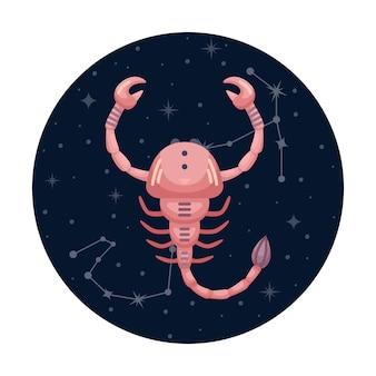 Ilustracja wektorowa płaski znak zodiaku skorpion z gwiazdami i konstelacji
