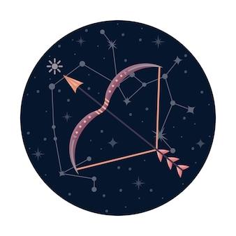Ilustracja wektorowa płaski znak zodiaku strzelec z gwiazdami i konstelacji