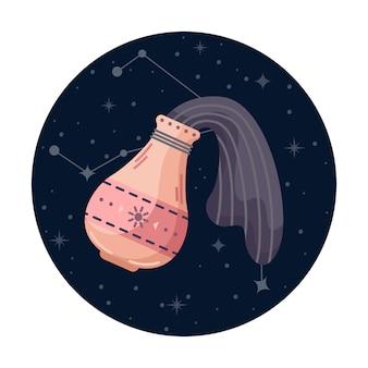 Ilustracja wektorowa płaski znak zodiaku wodnik z gwiazdami i konstelacji