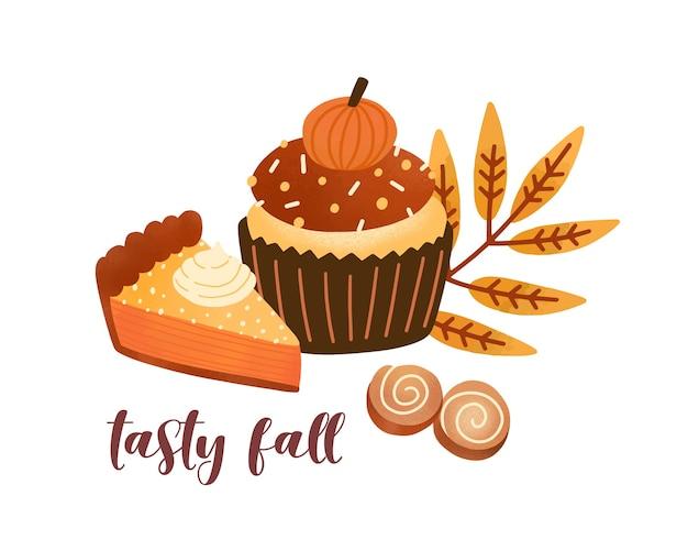 Ilustracja wektorowa płaskie ciasto przyprawa dyni. pyszne jesienne desery i kompozycja liści z napisem