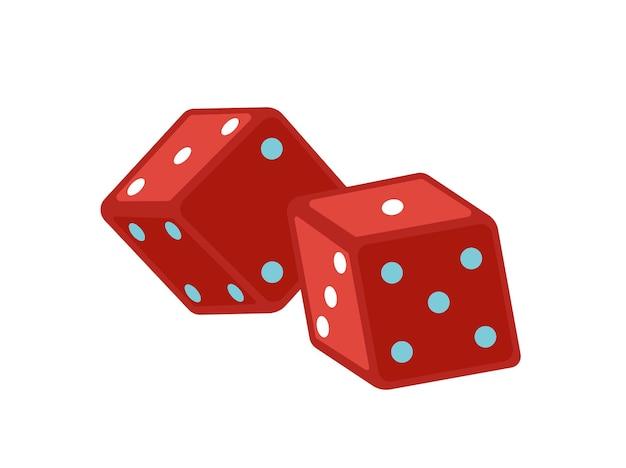 Ilustracja wektorowa płaskie czerwone kostki. magiczny sprzęt. kostki hazardu oznaczone kropkami. magiczne akcesoria pokazowe na białym tle. atrybuty iluzjonistyczne. gry planszowe, element projektu kości.
