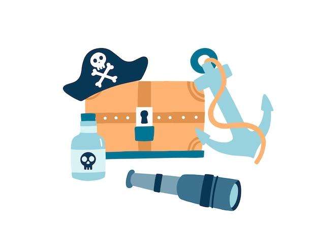 Ilustracja wektorowa płaskie elementy pirata. kapelusz pirata z emblematem czaszki i skrzyżowanymi kośćmi. drewniana skrzynia skarbów. kotwica, szklana butelka rumu i luneta na białym tle. symbole piractwa.