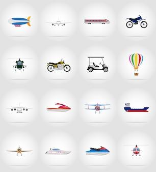 Ilustracja wektorowa płaskie ikony transportu