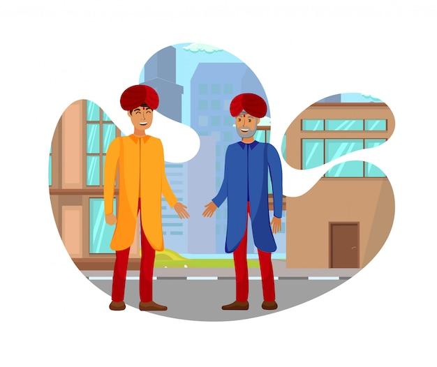 Ilustracja wektorowa płaskie indyjskich partnerów biznesowych