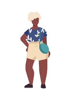 Ilustracja wektorowa płaskie krzywego african american kobieta. piękny plus rozmiar modelu na białym tle. stylowa dziewczyna z postacią z kreskówki blond włosy. pozytywny dla ciała, casualowy fason.
