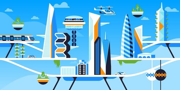 Ilustracja wektorowa płaskie miasto bezpieczne dla środowiska. metropolia przyszłości, pejzaż miejski z futurystyczną architekturą i transportem. wieżowce i pojazdy przyjazne środowisku. drony pasażerskie, samochody elektryczne