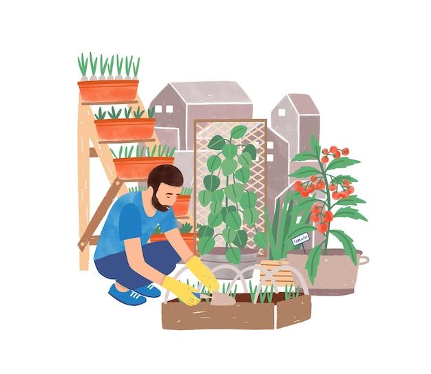 Ilustracja wektorowa płaskie miejskie ogrodnictwo. postać z kreskówki mężczyzna sadzenia ziół ogrodnik. zazielenianie, kształtowanie krajobrazu. ogród, podwórko, tereny zielone. hodowca i doniczki na białym tle.