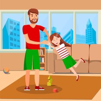Ilustracja wektorowa płaskie ojciec wirujące córki