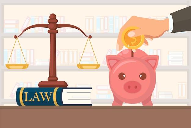 Ilustracja wektorowa płaskie płatności usługi prawne.