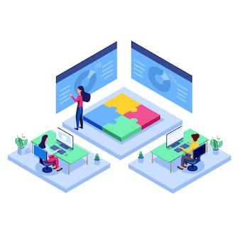 Ilustracja wektorowa płaskie, praca zespołowa w poszukiwaniu nowych pomysłów, poszukiwanie nowych rozwiązań, kreatywna praca