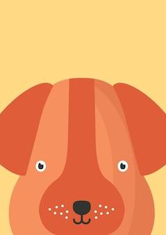 Ilustracja wektorowa płaskie pysk ładny pies. śliczny zwierzę twarz tło w stylu cartoon. zabawny bliska pieska brązowe głowy dekoracyjne dziecinne tło. projekt karty dla dzieci z zabawnym pyskiem zwierząt.