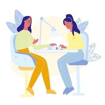 Ilustracja wektorowa płaskie usługi ekspresowe manicure