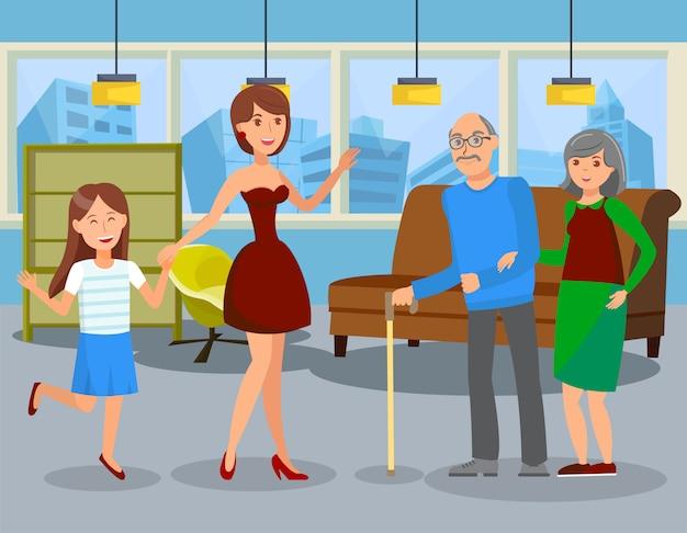 Ilustracja wektorowa płaskie usługi wspomagane życia
