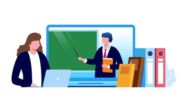 Ilustracja Wektorowa Płaskiej Edukacji Online Dla Strony Docelowej Banera Premium Wektorów
