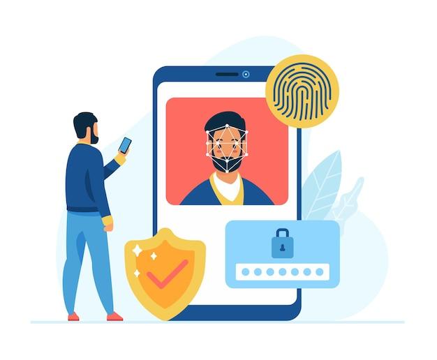 Ilustracja wektorowa płaskiej koncepcji ochrony i bezpieczeństwa danych mobilnych