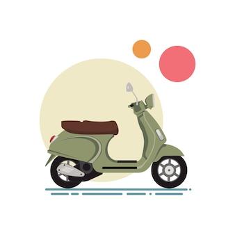 Ilustracja wektorowa płaskiej konstrukcji skutera. klasyczna hulajnoga na tle kolorowych okręgów.