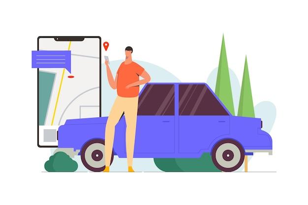 Ilustracja wektorowa płaskiej taksówki online