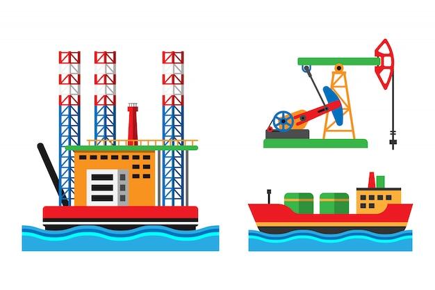Ilustracja wektorowa platformy wydobycia ropy naftowej