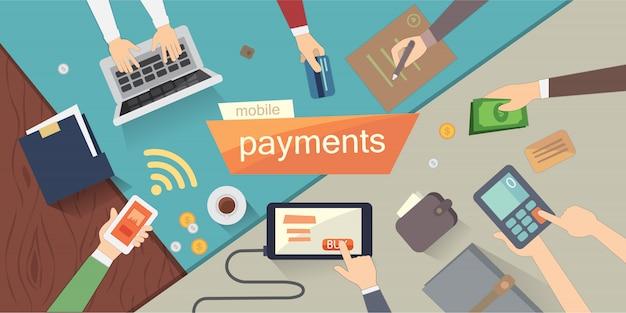 Ilustracja wektorowa płatności mobilnych. bankowość internetowa. ludzkie ręce. kolorowy zestaw narzutów.