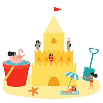 Ilustracja wektorowa plaży. zamek z piasku i mali ludzie. kobiety relaksują się, opalają, grają w piłkę, pływają w basenie w wiadrze. dziewczyna jest fotografowana. letnie wakacje.