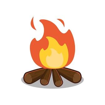 Ilustracja wektorowa płonącego ogniska z drewnem na białym tle