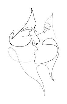Ilustracja wektorowa pocałunek dwóch dziewczyn lesbijek pary koncepcja lgbt minimalistyczny styl jednej linii