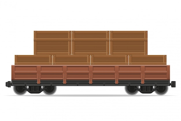 Ilustracja wektorowa pociąg wagon kolejowy