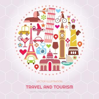 Ilustracja wektorowa podróży i turystyki