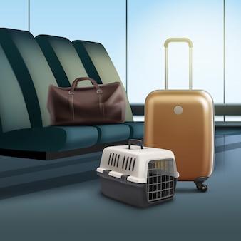 Ilustracja wektorowa podróży ze zwierzakiem. plastikowy bagażnik i bagaż na lotnisku
