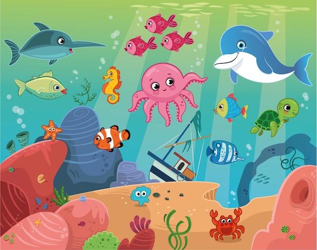 Ilustracja wektorowa podwodnych kreskówek morskich zwierząt