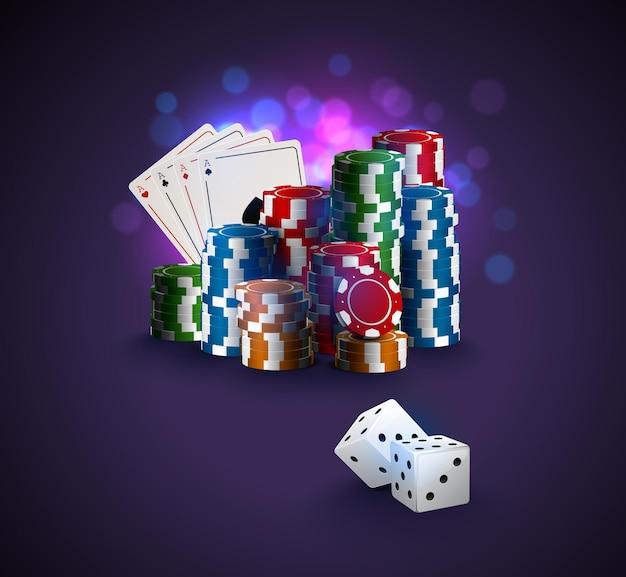 Ilustracja wektorowa pokera, stos żetonów pokerowych, karty asa na fioletowym tle bokeh, dwie białe kości na pierwszym planie. plakat zwycięzcy kasyna online.