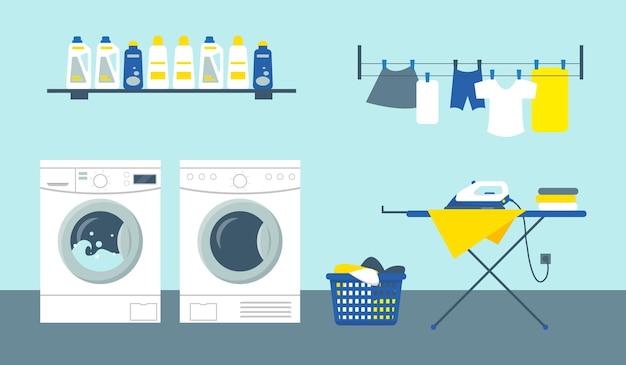 Ilustracja wektorowa pokój usługi pralni. pralki i suszarki ze środkami czyszczącymi na półce, żelazko na desce do prasowania i czyste ubrania.