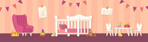 Ilustracja wektorowa pokoju dziecięcego. koncepcja pokoju dziecięcego. pokój dziecięcy dla dziewczynki w różowych kolorach z: łóżeczkiem, krzesłami, stołem, zabawkami, krzesełkiem i dekoracjami.
