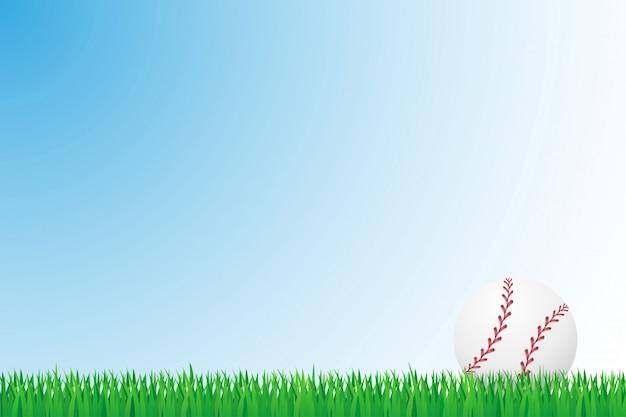 Ilustracja wektorowa pole trawa baseball