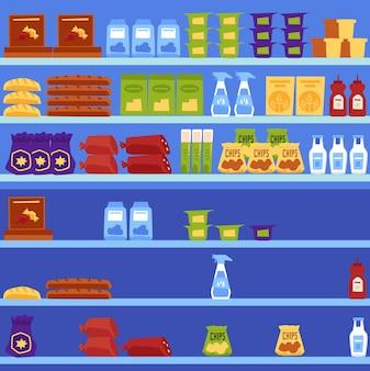 Ilustracja wektorowa półek w supermarkecie