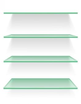 Ilustracja wektorowa półki przezroczyste szkło