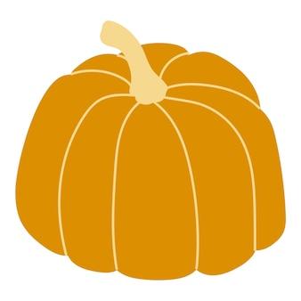 Ilustracja wektorowa pomarańczowy dyni. jesienna dynia halloween, ikona graficzny warzyw lub wydruku, izolowana na białym tle.